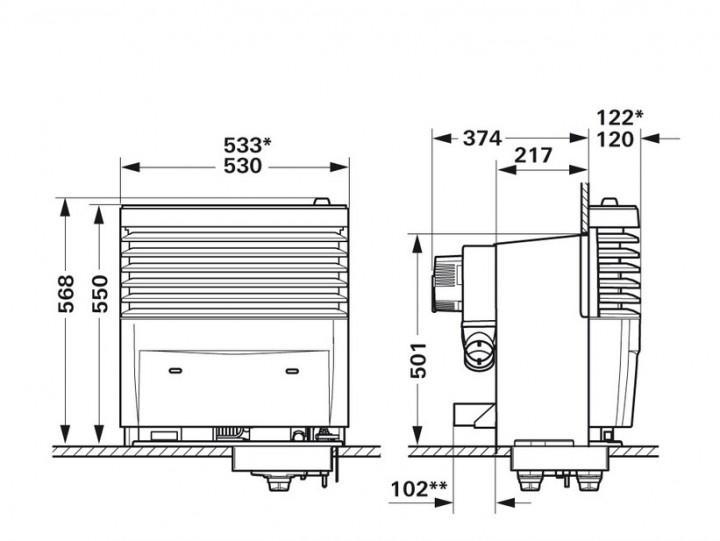 Truma S 5004 mit Einbaukasten für 2 Gebläse