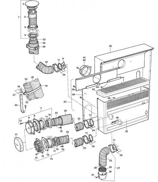 Rückwand RWS mit Wärmeleitblech und mit Abgasrohranschluss rechts und links