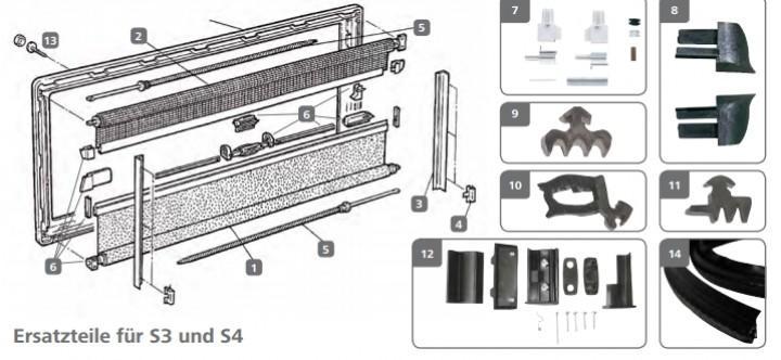Abdeckkappen und Schrauben für S3 und S4 Fenster grau