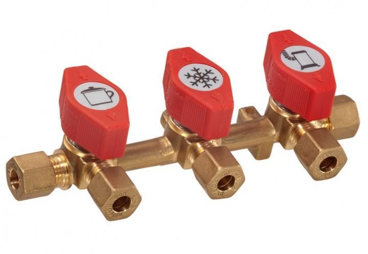 Verteilerblock Rohrverschraubung 3 Abgänge