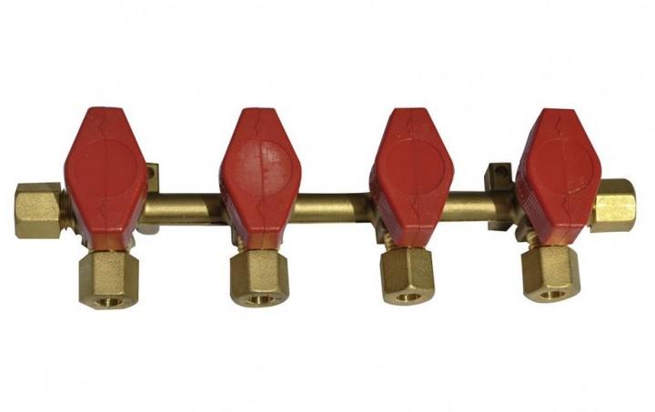 Verteilerblock Rohrverschraubung 4 Abgänge
