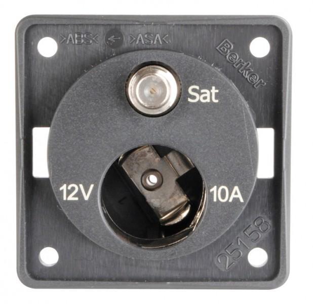 Antennen Steckdose anthrazit matt Integro 12 Volt und SAT