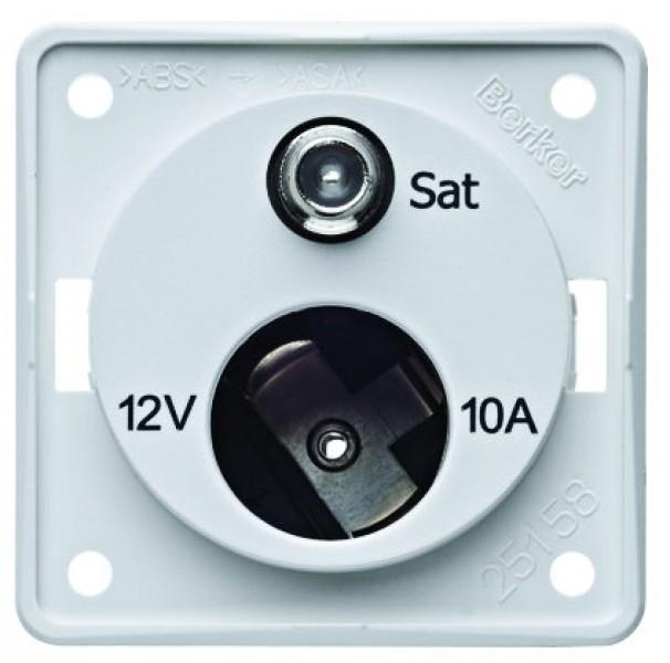 Antennen Steckdose weiß matt Integro 12 Volt und SAT