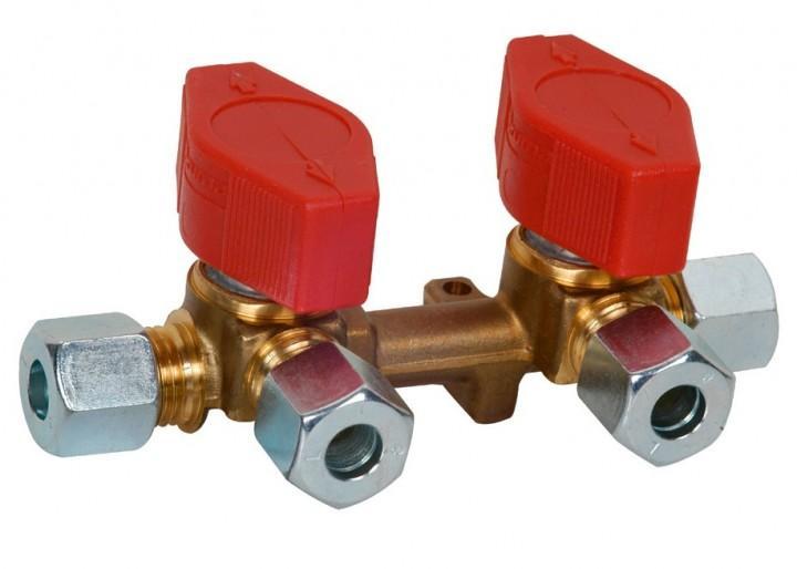 Gas Verteilerblock mit 2 Abgängen 8 mm