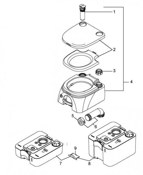 Abwasserbehälter 9,8 l beige für 970er Serie