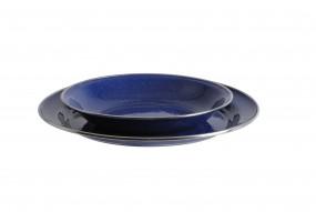 Relags Emaille Teller flach, 26 cm, blau