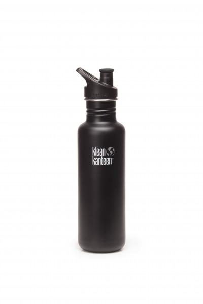 Klean Kanteen Flasche 'Classic' Sports Cap matt schwarz, 0,8 L