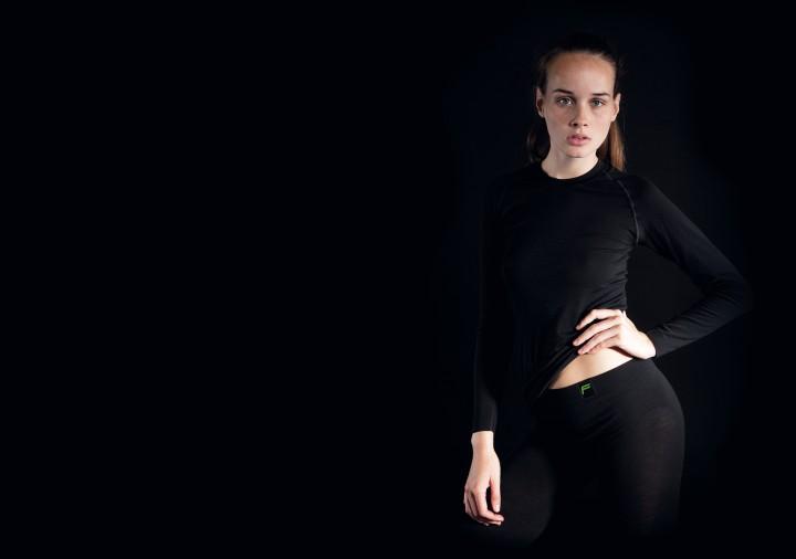 F Functional Underwear 'Merino' Longshirt, Women, schwarz, L