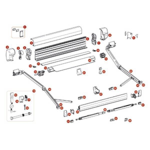 Endkappe Thule-Omnistor 8000, Motor, creme, links