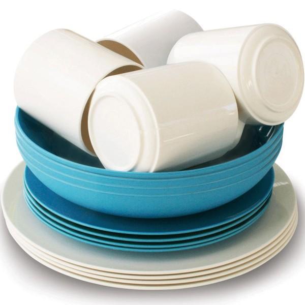 Eco Family Set Bistro 16-tlg. blau/weiß