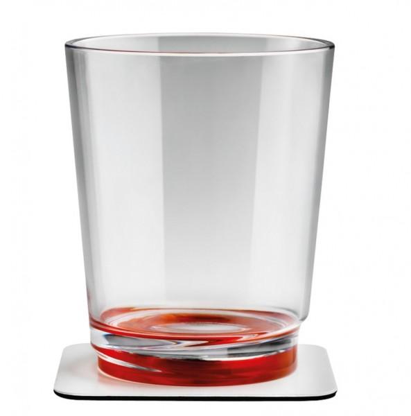 Silwy Magnetgläser mit Untersetzer 2er Set rot
