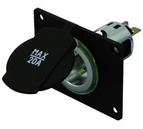 Power-Steckdose mit Montageplatte 12–24 Volt
