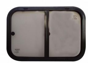 Sicherheitsglas Schiebefenster für Kastenwagen Rahmen schwarz 600 x 250 mm