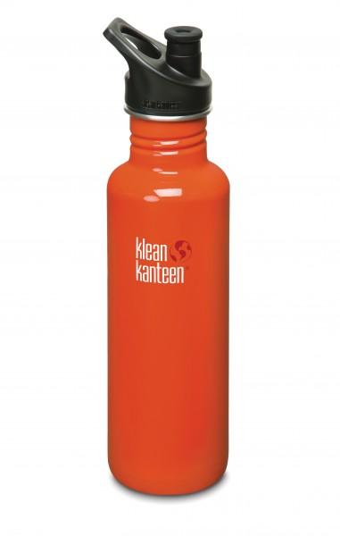 Klean Kanteen Flasche 'Classic' Sports Cap rot, 0,8 L