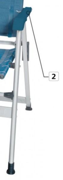 Beingestell mit Armlehne und Gelenk links blau für Campingstuhl Kerry Classic
