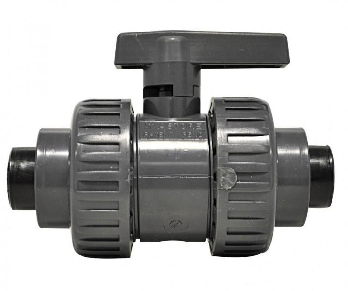 Kugelhahn 1 Zoll mit Übergangsstück für steckbares Abwasser-Rohrsystem