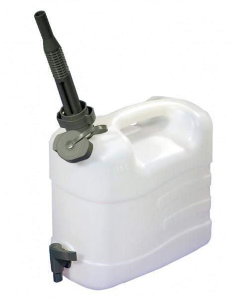 Wasserkanister mit Ausgießtülle 10 Liter mit Ablasshahn