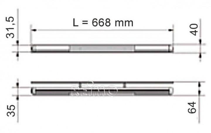 Design-Leuchte Stilo 12 Volt Alu LED Länge 668 mm