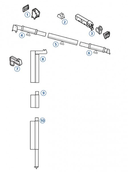 Mast-Mittelteil 45cm links Safari Residence Serie 5 / 6 / 8