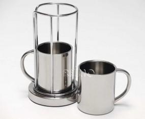 Kaffeebecherhalter-Set aus Edelstahl