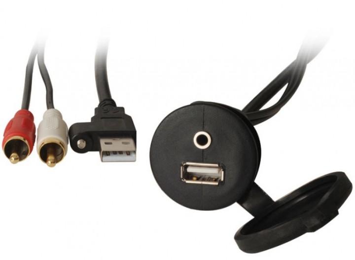 USB / AUX Verlängerung mit Einbaubuchse