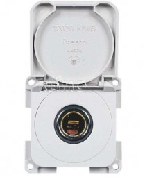 12V-Normsteckdose mit Klappdeckel weiß