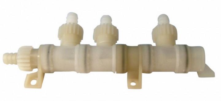 Verteilerblock 3-fach mit Muttern für Comet Wasserversorgungssystem X-Fix