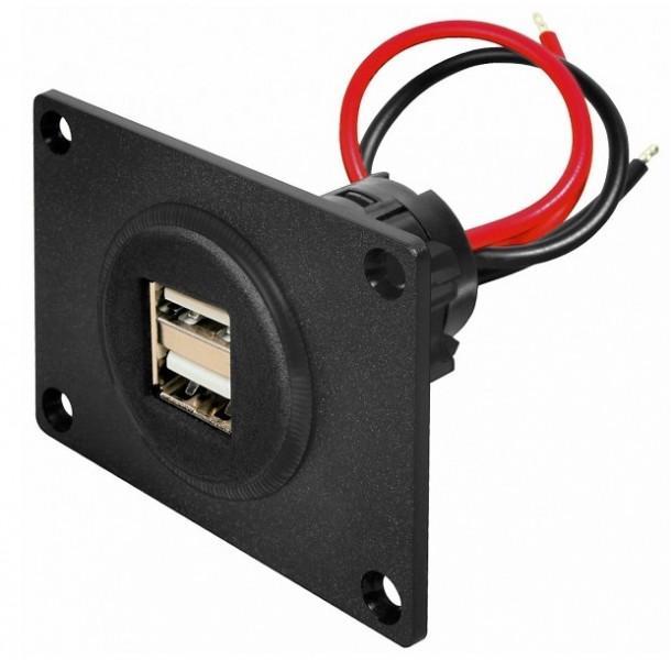 Procar USB Einbausteckdose mit Montageplatte 2 x 2500 mA