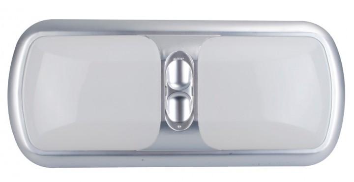 Deckenleuchte Modern doppelt mit 3-Stufenschalter silber 12 Volt