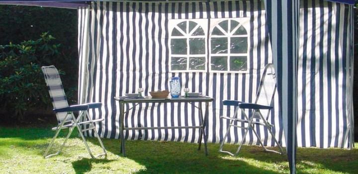 Seitenwand mit Fenster blau für Gartenpavillon Chalet