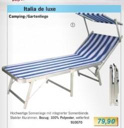 Campingliege mit Sonnenblende