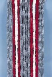 Flauschvorhang 56x185 cm grau/rot/weiß für Wohnwagen