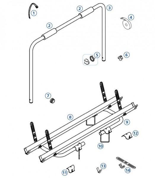 Schienenbügel-Befestigung links 30mm Caravan / Caravan Spezial