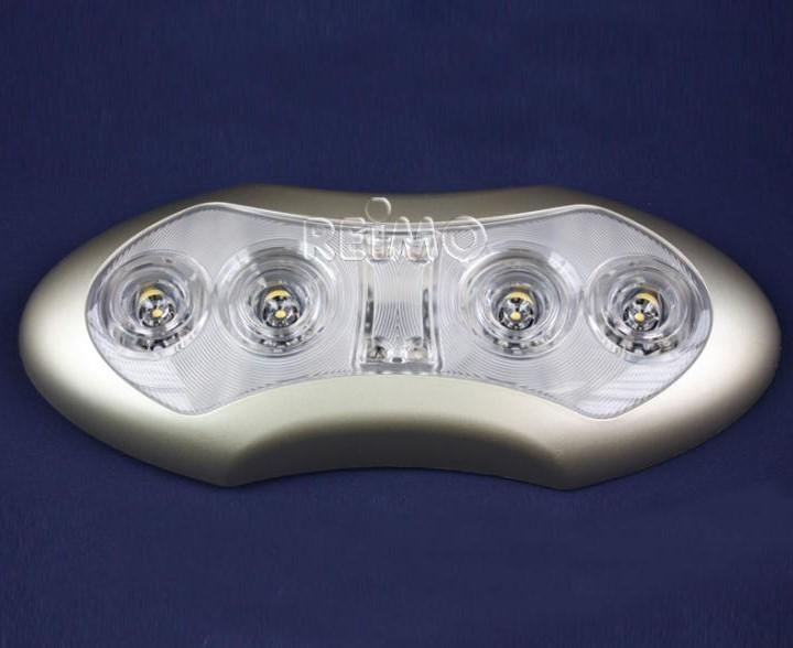 LED 12 Volt Deckenleuchte 4x1 W LED mit blauem Nachtlicht Silber