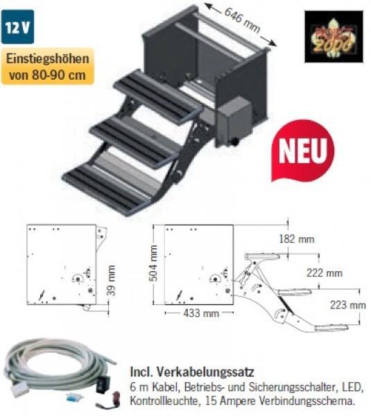 Trittstufe 3-stufig 530 mm Motor rechts für große Reisemobile (Liner)