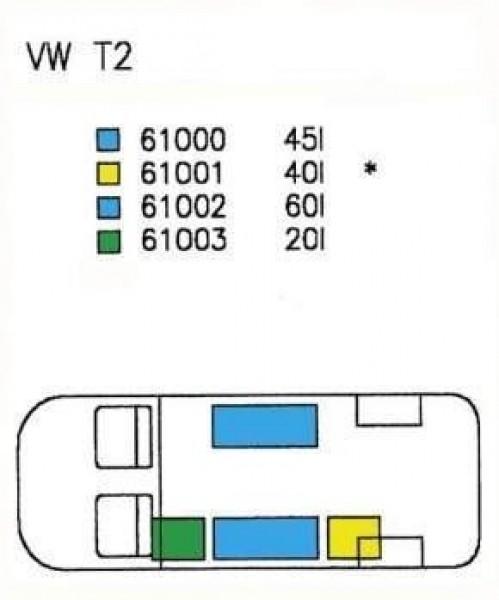 Frisch-/Abwassertank VW Typ T2 und T3 bis Bj. 07/90