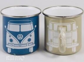 VW Collection Tasse Emaille VW Bulli blau & grau 2er Set