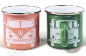 VW Collection Tasse Emaille VW Bulli grün & apricot 2er Set