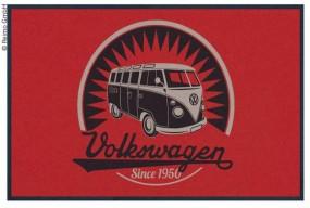 VW Bulli Türmatte Vintage Logo rot
