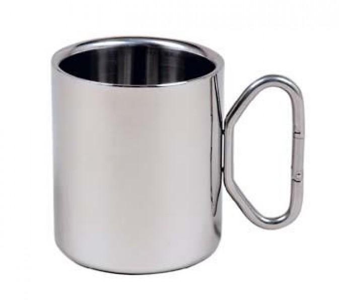 Edelstahl-Kaffeebecher 0,3l mit Karabinerhaken