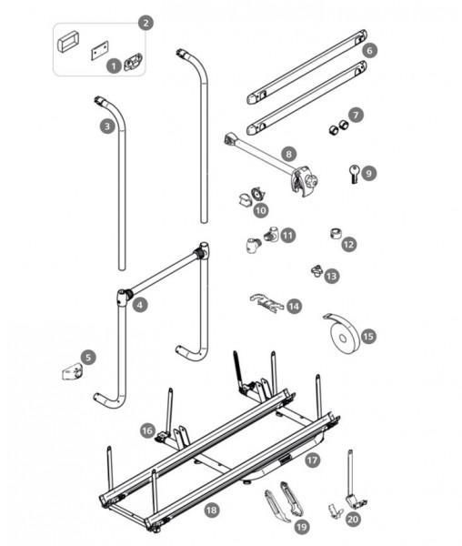 Ersatzteil für Thule Sport G2 2 Doors Tragrahmen-Querstrebe & unterer Tragarm, Satz links und rechts