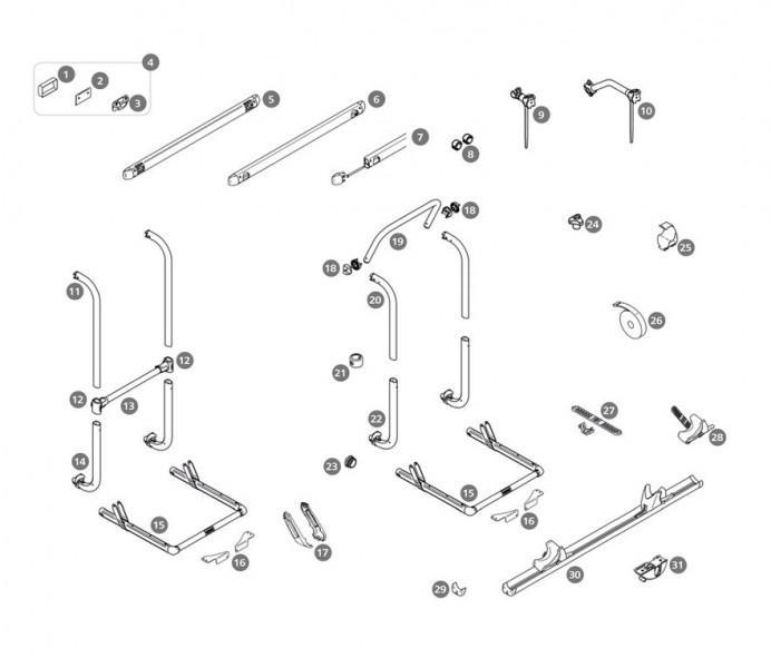 Schienenbügelendkappe mit Sicherungsband Thule Sport G2 Satz links und rechts
