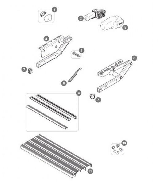 Trittbrettverbindung Thule Single Step V10 550 Alu 3 Stück