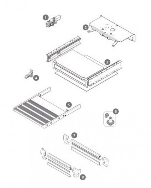 Zahnräder und Achse Thule Slide-Out Step V14 12V Satz