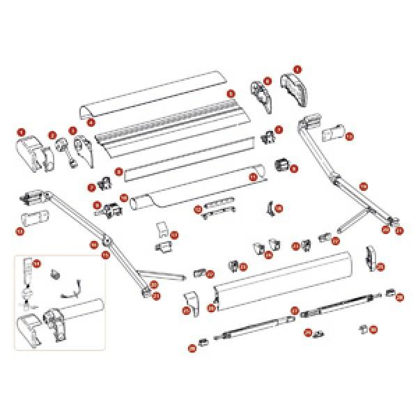 Frontblendenendkappen, eloxiert, Satz links und rechts