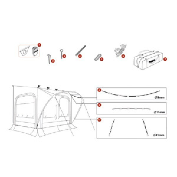 Baldachin-Gestänge Thule QuickFit, Dachseiten oben, ø 9 mm, 2,6 m, Large