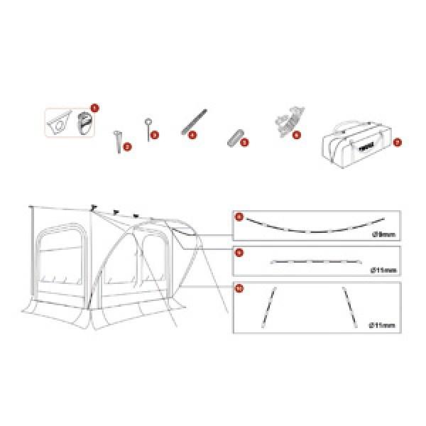 Baldachin-Gestänge Thule QuickFit, Dachseiten oben, ø 9 mm, 3,6 m, Large