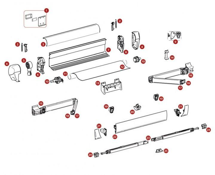 Montagesatz bis Markisenlänge 3 m für Thule Omnistor 5003