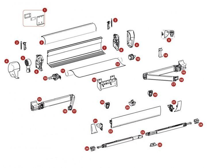 Tuchrollenendkappen ab Markisenlänge 4 m Satz links und rechts Thule Omnistor 5003