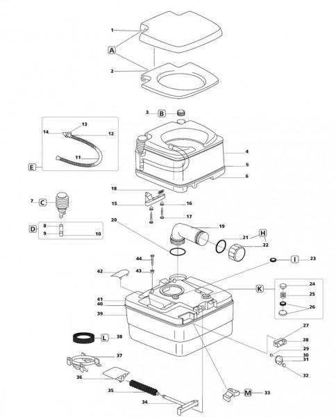 Ersatzteile Porta-Potty 335/ 345 / 365 - Schraubkappe für Entleerungsrohr